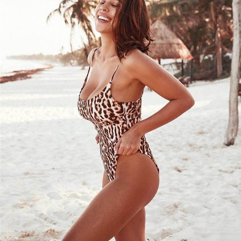 1d6cf2ec920 Leopard animal print swimsuit Size medium (8-10) Worn once a - Depop