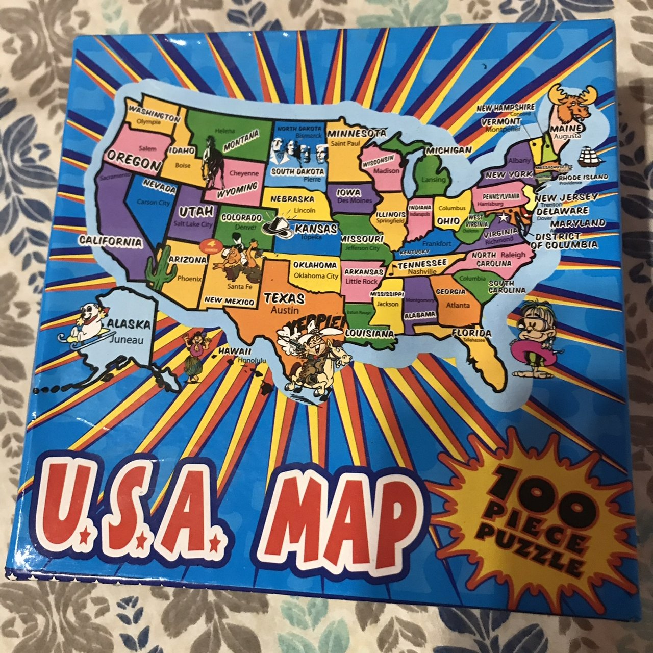 Puzzle Map Of The United States.Jigsaw Puzzle Map United States Of America Usa 100 Pc Open Depop