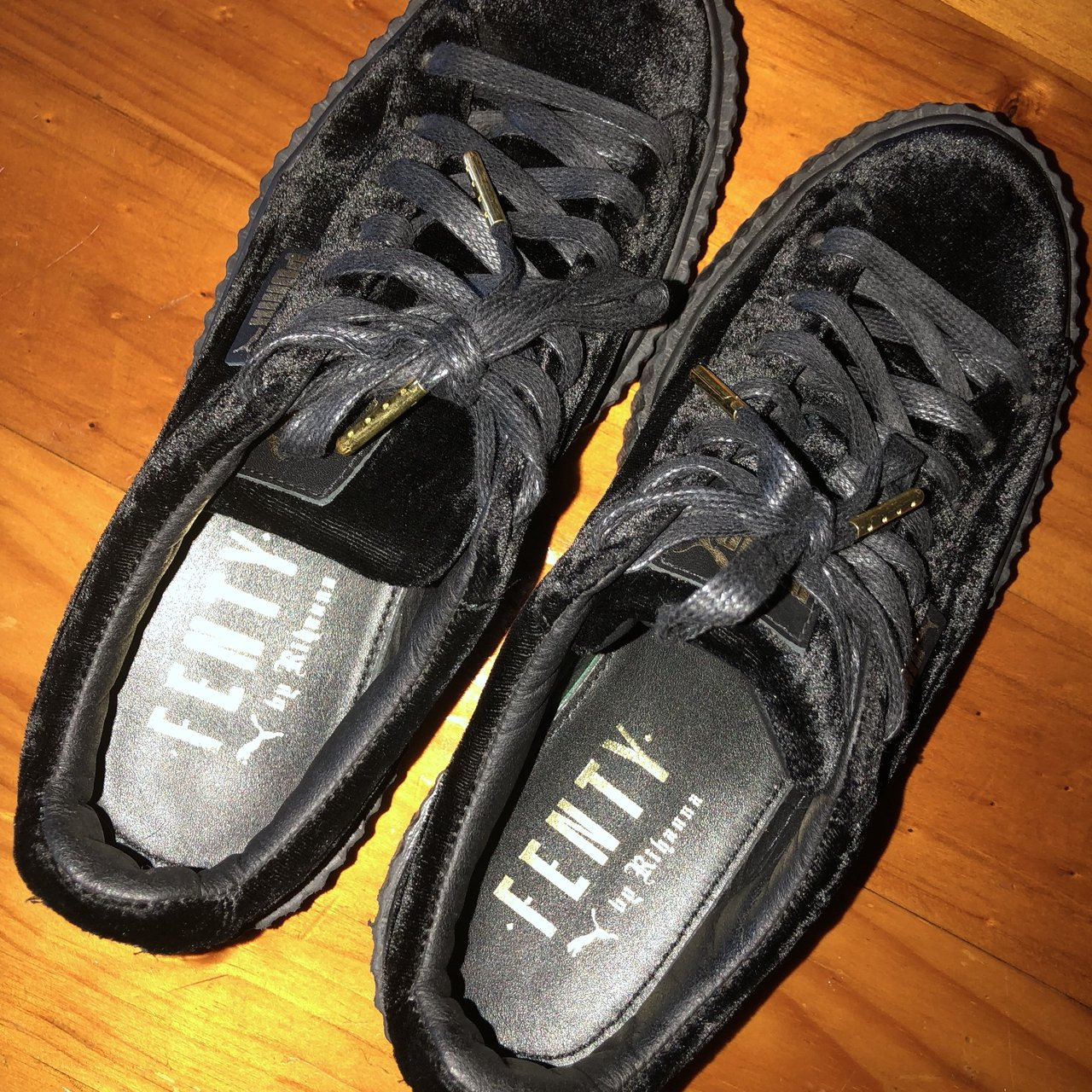 8f32bc3e306 Fenty Puma platforms Black suede US Women s size 7.5   UK 5 - Depop