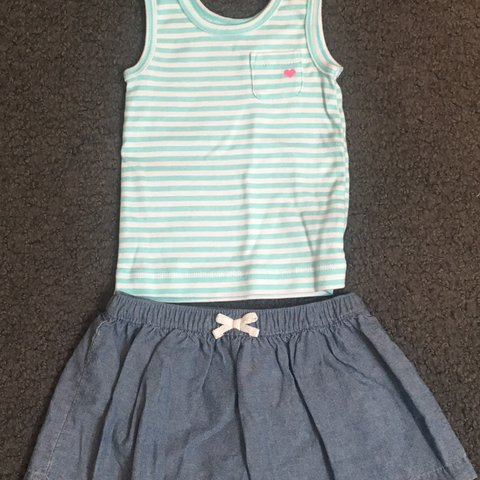 852cafd9344a9 Carter s Baby Girl Outfit. The Tank Top has blue and white a - Depop