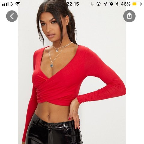 037217bf9e1d0 Red and Mustard jersey wrap over crop tops! Selling both not - Depop