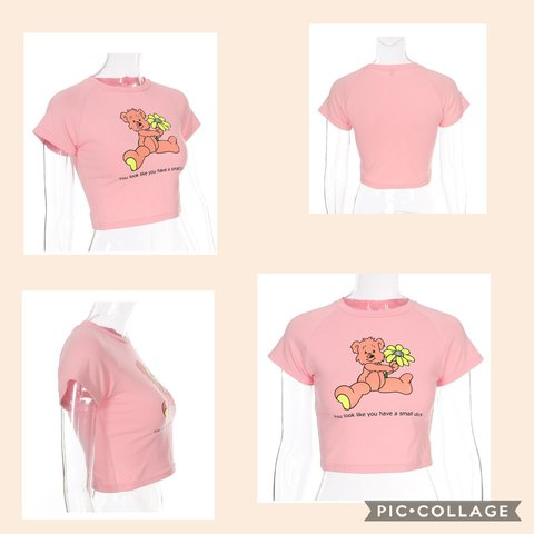 e212bbc0f @40dollarsandunder. 3 months ago. Jacksonville, Duval County, United  States. Pink crop top with cute teddy bear,