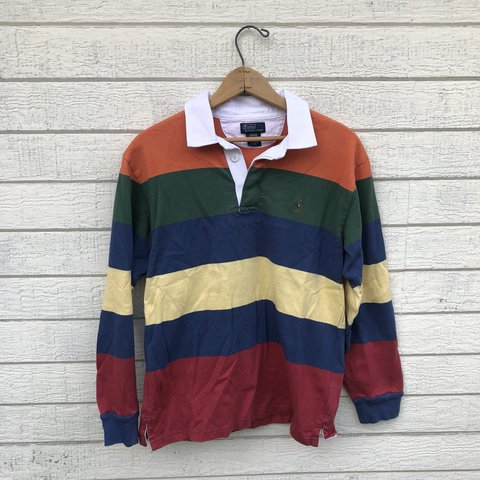 eafe6b9dffee @kidstablevintage. last year. United States. Vintage color block striped  Polo Ralph Lauren rugby shirt.