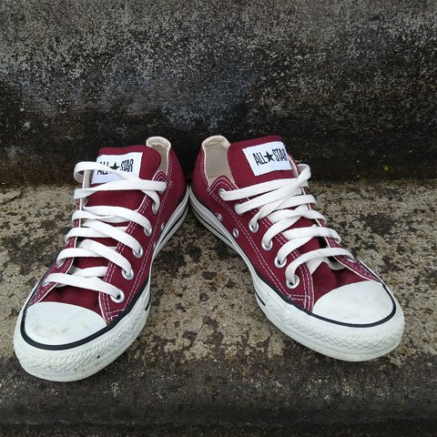 20236bba4fd4f8 Maroon converse low top sneakers. Size 7 (mens size 5) good - Depop