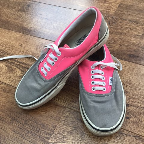 70916cee1ad Pink and Grey Vans Open to offers Size 6 UK Only worn a few - Depop