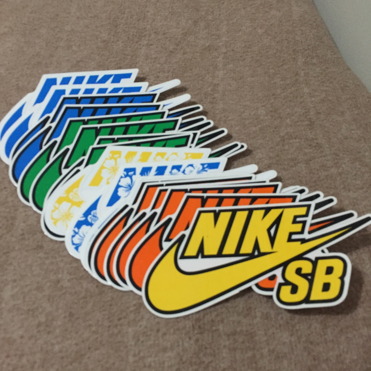 Various colored Nike SB stickers