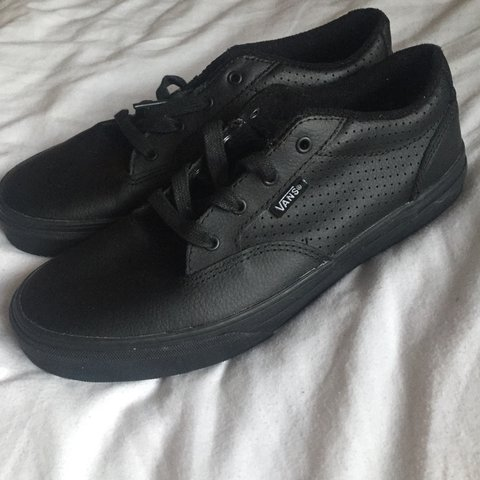 36f028acaf19 Leather black vans never worn brand new Size 5 Shipping is - Depop