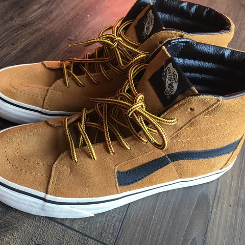 7dd406c810 Tan suede high top vans!! Yellow and red laces. Leather like - Depop