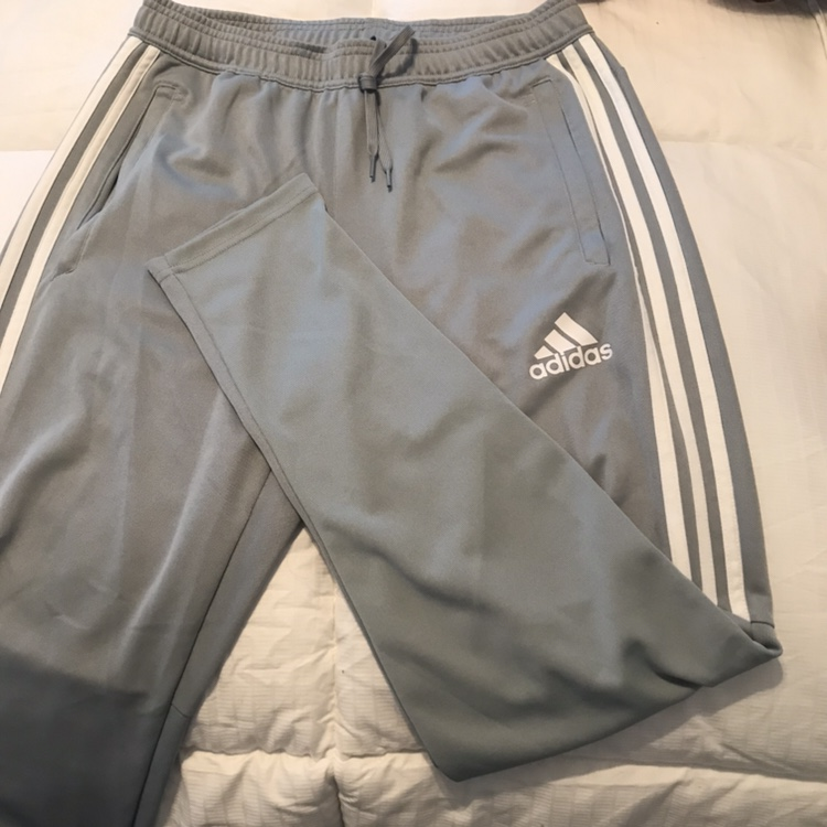 Blue/grey adidas climacool track pants with zippers...