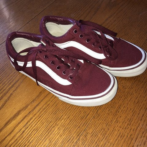 59e823ced845 old skool lowtop vans in the dopest maroon color! 🐙 I love - Depop