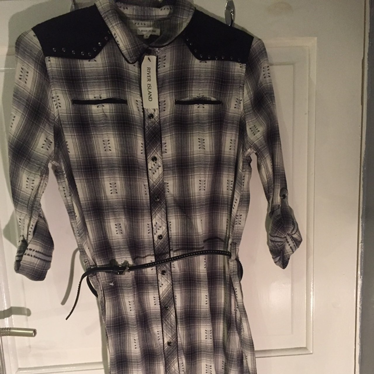 a466134342e8ce Black And White Checked Shirt River Island - DREAMWORKS