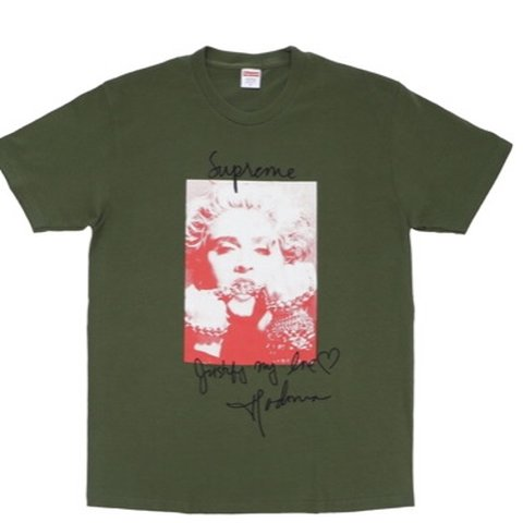 8115f56310a3 @jorge_sebastian. last month. Chicago, United States. Supreme Madonna Tee  Olive, Red & White Short Sleeve Graphic Tee Shirt Mens Size ...