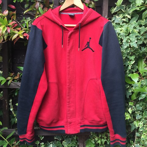6a644c0e981f2a Jordan varsity button up hoodie Black and red Great tiny - - Depop