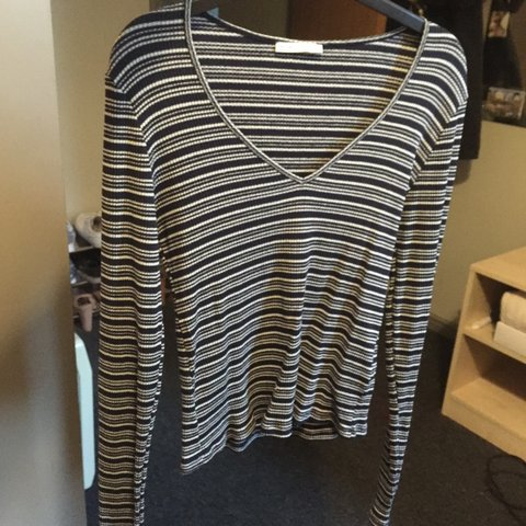1ab396eabaa @georgiecooperr. 3 years ago. Bristol, City of Bristol, UK. ZARA blue and  white striped top with V neck / long sleeved ...