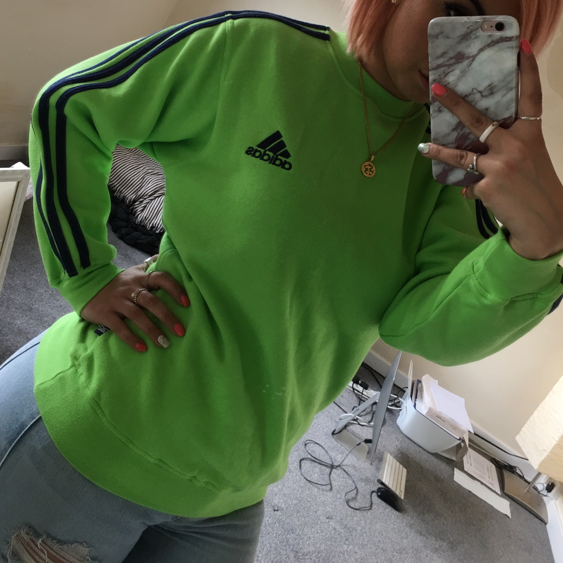 ADIDAS LIME GREEN hoodie jacket Size small 34
