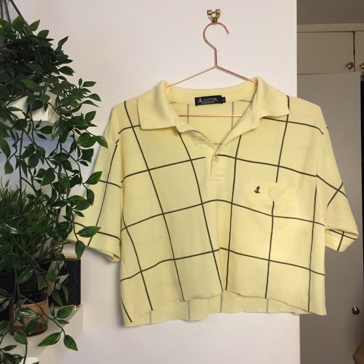 199fecc8786a7b Vintage plaid yellow cropped shirt