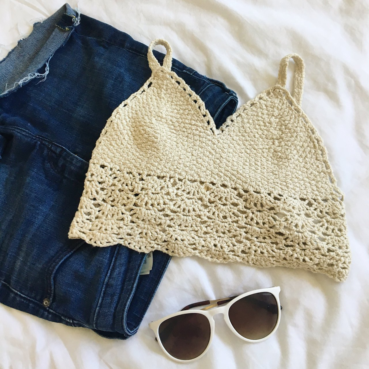 Cute crochet bralette from hollister Great for summer or and - Depop b9d430c20