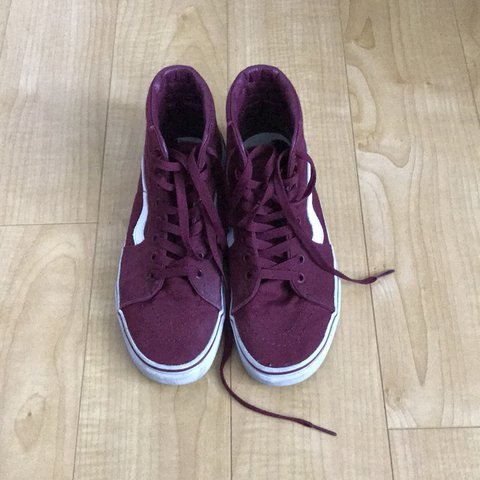 Burgundy Sk8 Hi Vans These are in good condition. Have a in - Depop ee4aaa2f7