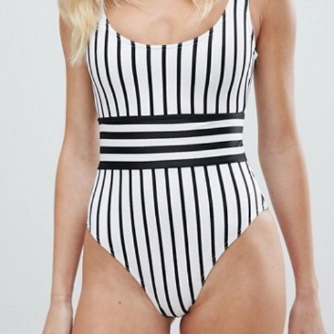 dd6073267e ASOS black and white striped swimsuit Wore once - Depop