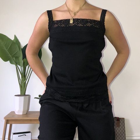 11bb5139f Black lace singlet Super cute to wear out or casually  90s - Depop
