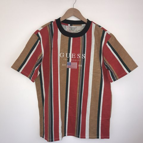 3b1017a9a8 @steadfordclothing. 11 months ago. Reading, United Kingdom. Striped Guess T  shirt, embroidered logo.
