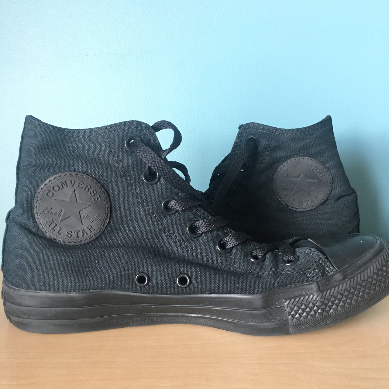 ON HOLD!! All black Chuck Taylor all star converse. High In - Depop f0ce326cd