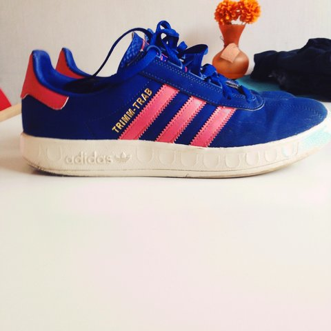 6b990ed86 Adidas Trimm-Trab    Royal Blue Pink White    A few scrapes - Depop