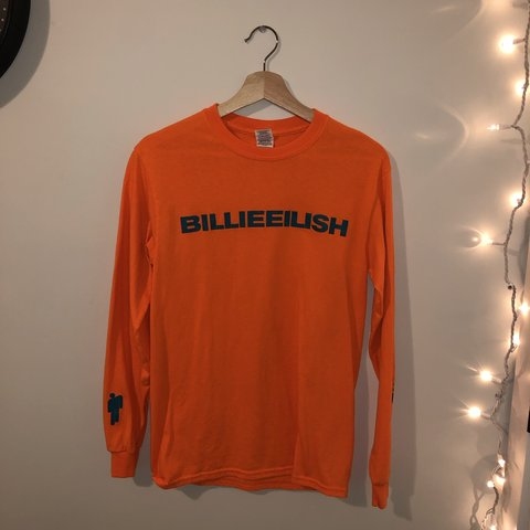 31e044fb827 billie eilish long sleeve t-shirt — bright orange with dark - Depop