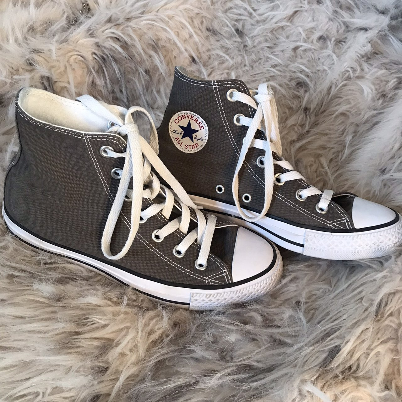 8d9e2af3cf3 Classic Converse high top chuck taylor all stars in gray. 6 - Depop