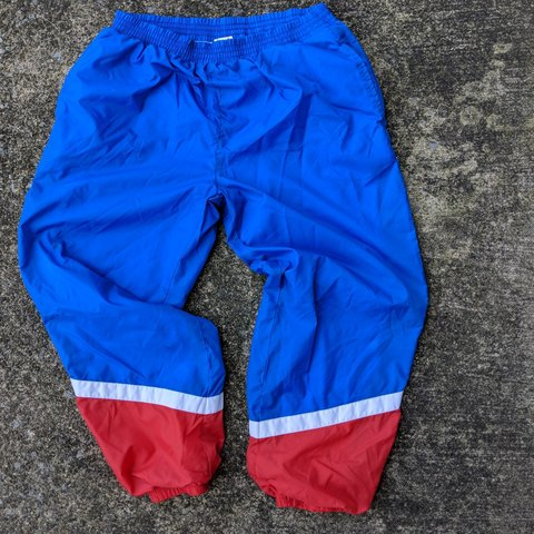 b1e2c50bfe2508 Vintage 80s 90s red white and blue USA colorway swishy pants - Depop