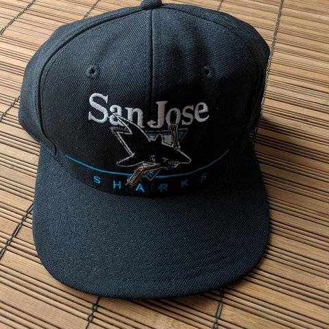 2457903be3638 Vintage 90s San Jose sharks NHL hockey snapback hat spell by - Depop