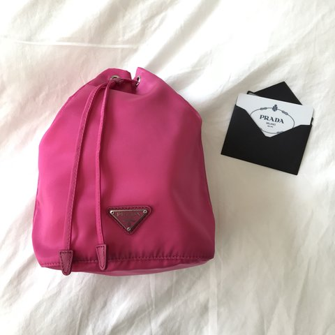 a58e45c9f1fa Prada bucket bag pouch in hot pink nylon. Brand new with And - Depop