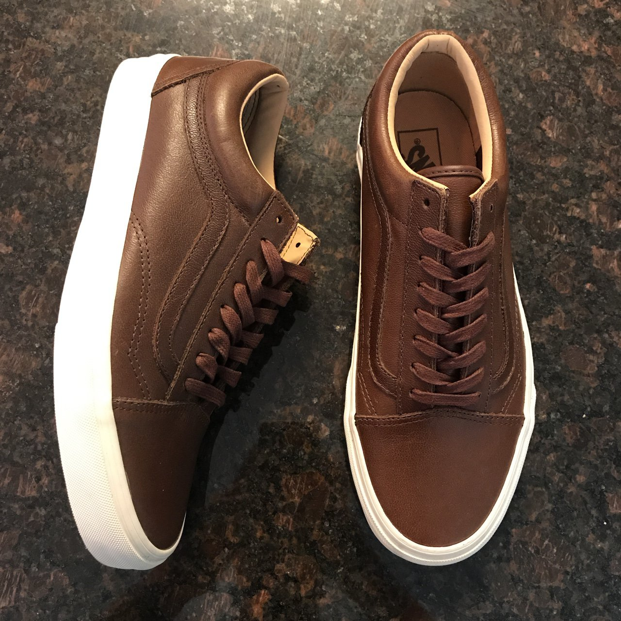 64ba84a969 Vans Old Skool Lux Leather Shaved Chocolate Porcini Men s sz - Depop