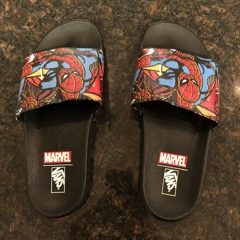 978691cb4d Vans Slide On Marvel Spider-Man  Black Men s Sz 9 Brand - Depop