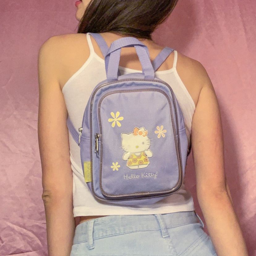 mini hello kitty backpack in lilac! puffy vinyl    - Depop