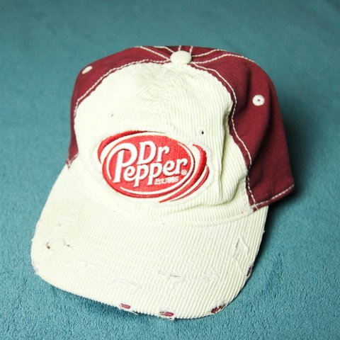 66083101463 Weathered Corduroy Dr. Pepper Hat Off-white and burgundy on - Depop