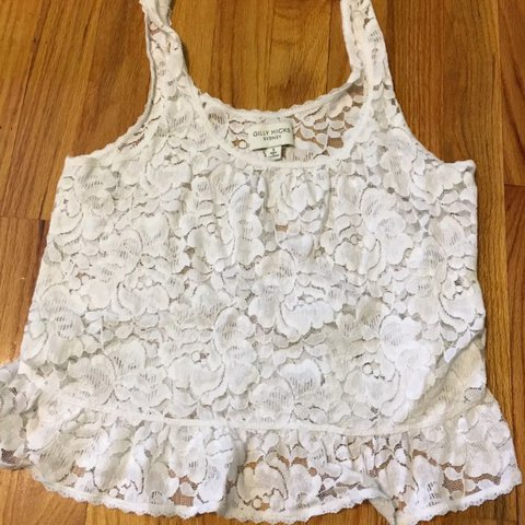 a79f9b0e323bd Cute White lace Gilly Hicks tank top blouse see through. me - Depop