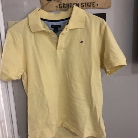 08edc596ec72 Tommy Hilfiger Yellow Polo Shirt medium in YOUTH could fit - Depop