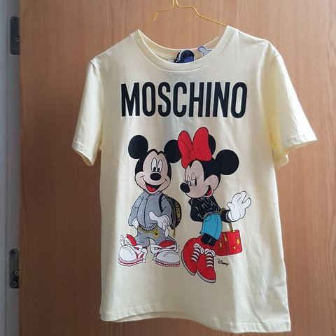 5fde52511 H&M x Moschino size Small Pale yellow ladie's tshirt with - Depop