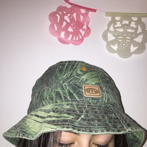 aa07a843a7655 Animal bucket hat green camo leaf style good for festivals a - Depop
