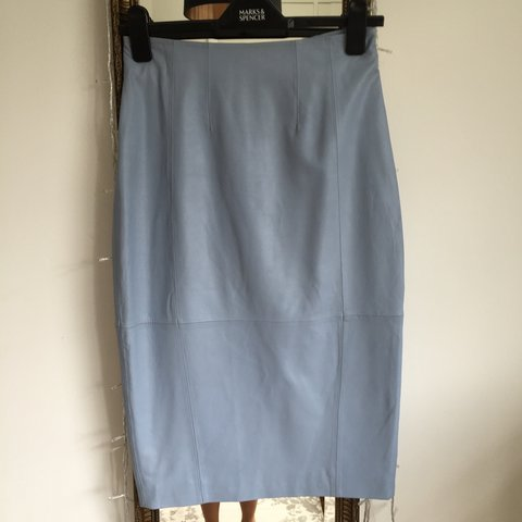 d96fed49c @imogenashby. 4 years ago. London, UK. ASOS baby blue real leather pencil  skirt.