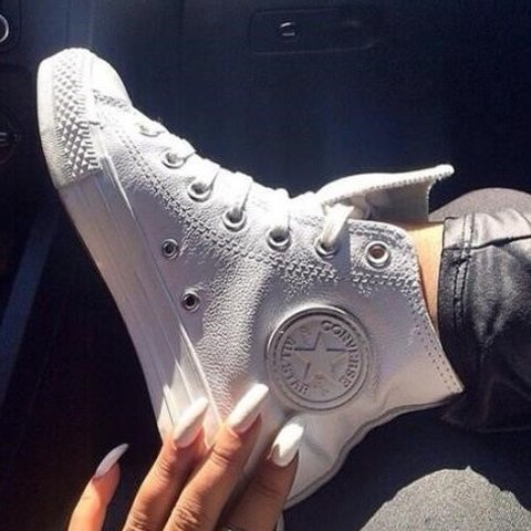 40f792f0317c White Leather Converse High Top Good condition only a few as - Depop