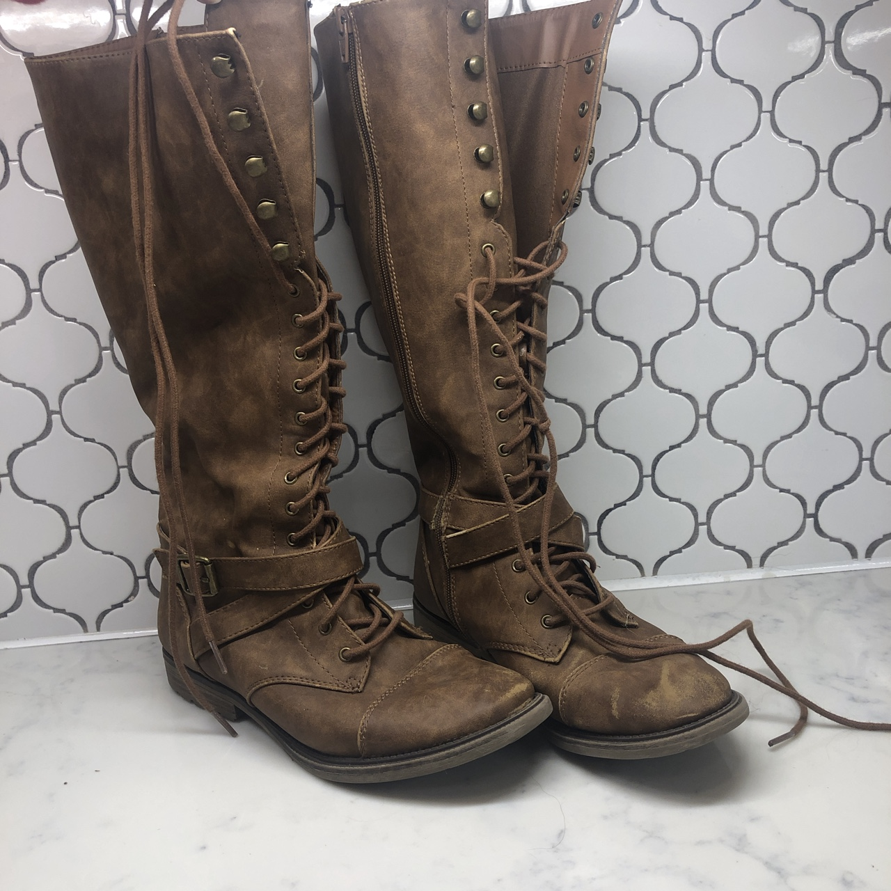 Target Mossimo Brown Lace Up Boots Come