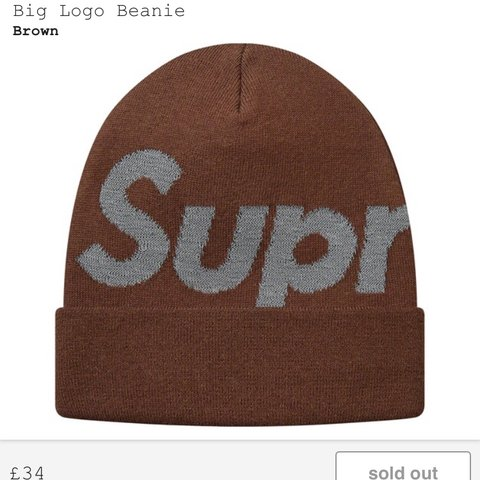 cc64540d914 Supreme Brown Big Logo Beanie Confirmed order Brand new