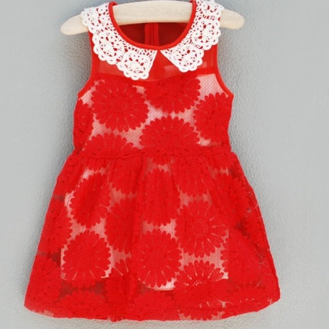 e8d7180fc6323 @kensingtonlanekids. 5 years ago. Fair Oaks, United States. Red sunflower  dress with pearl and lace collar. Sizes 2-8.