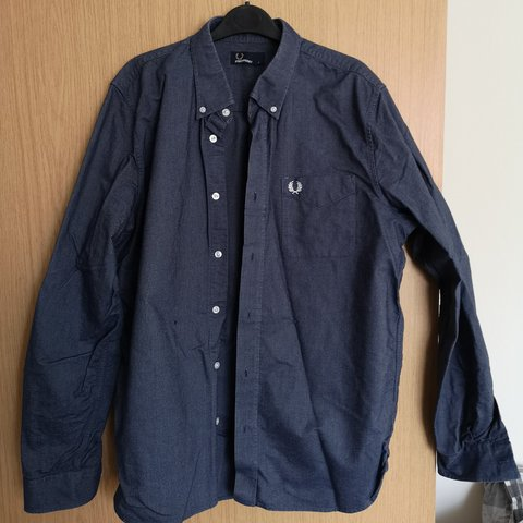 b042b87bf6 Large Fred Perry denim shirt Small mark shown in 75 - Depop