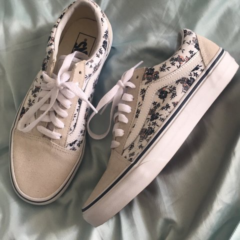 7bf8c2bc16434 Size 5 Authentic Old Skool Floral Vans Trainers. Brand new. - Depop