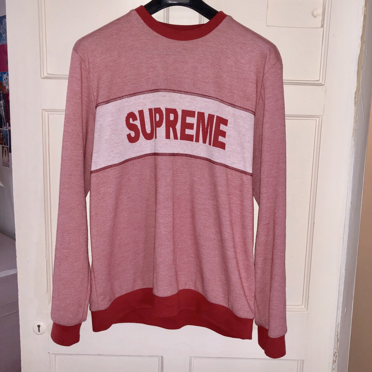 "Red supreme sweatshirt ""Tonal stripe logo 6406fb9ba6ec7"