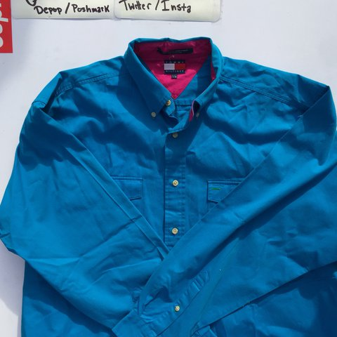 7c83294cf @xaviercxbb. last year. Hendersonville, United States. COLOR BLOCKED TOMMY  HILFIGER POLO BUTTON UP SIZE: Large (True ...
