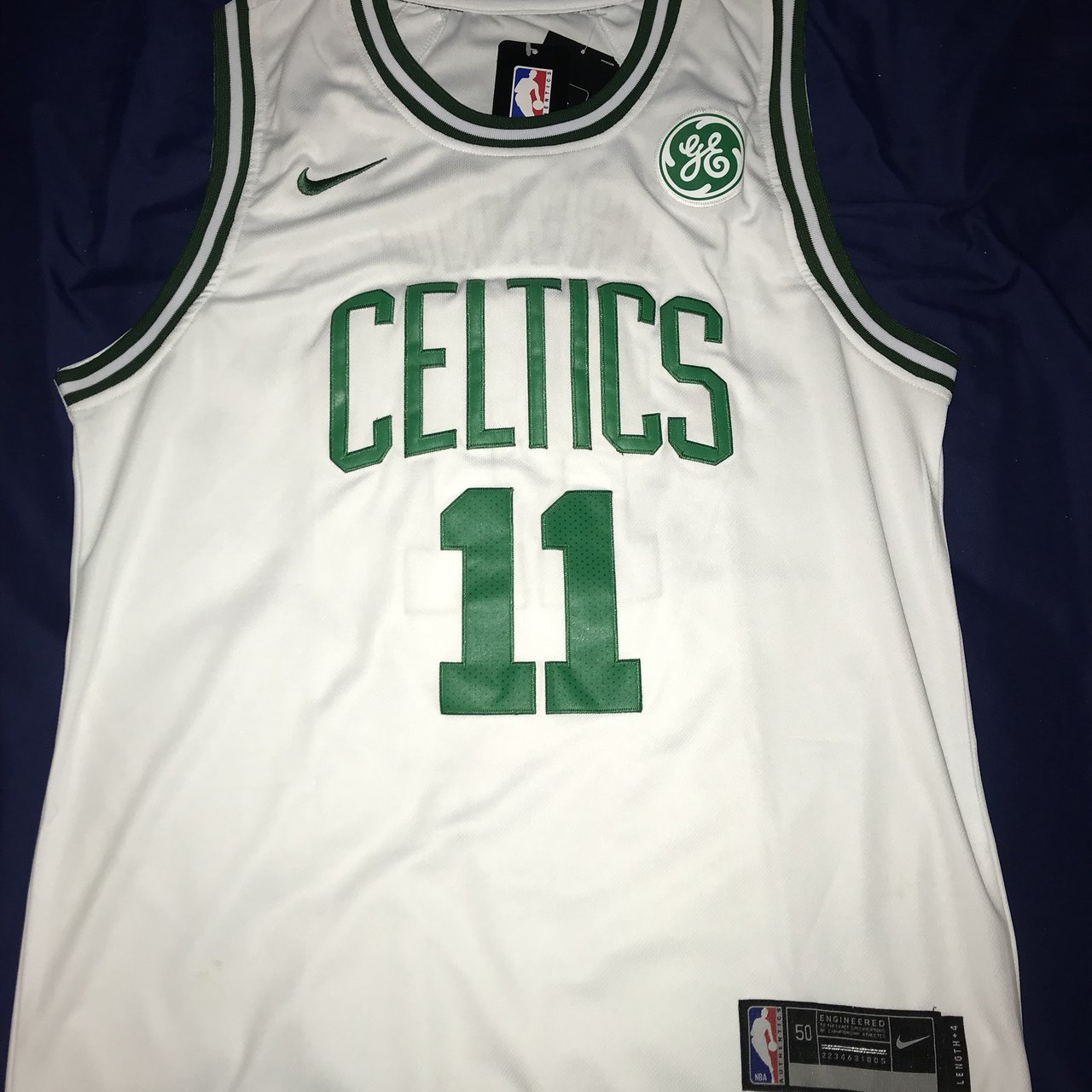 Authentic Fully Stitched White Kyrie Irving Celtics Jersey. - Depop 63a67d015